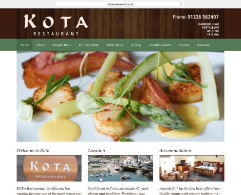 Restaurant website build for Kota Porthleven   t2design Penzance