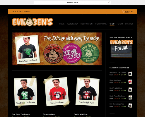 Website and Online Shop design and build for Truro based Evil Bens