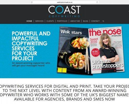 Website design for Coast Copywriting Penzance