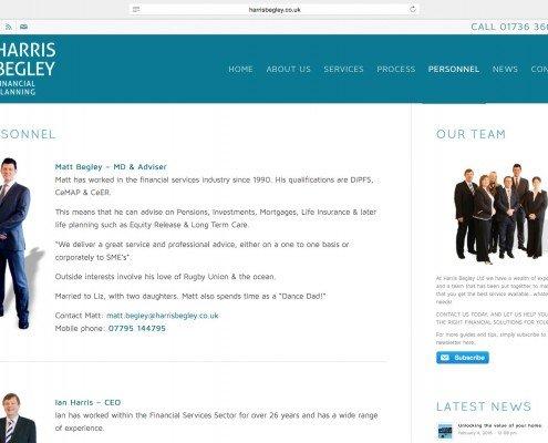 Harris Begley Penzance Website Design by t2 design